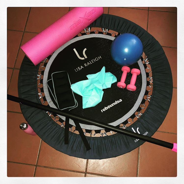 Rebounder with weight bar, dumb bells, pilatus ball and resistance band